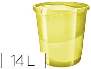 PAPELERA PLASTICO ESSELTE COLOUR ICE 14 LITROS COLOR AMARILLO