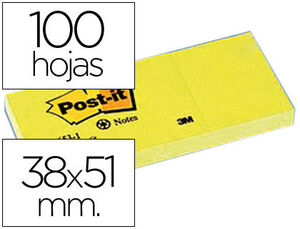 NOTAS ADHESIVAS POST-IT 38X51 MM RECICLADO AMARILLO PACK 3 BLOCS 653-1