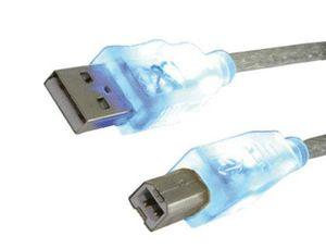 CABLE USB 2.0 MEDIARANGE PARA IMPRESORA TIPO A-B CON LED AZUL EN LOS CONECTORES LONGITUD 1,8 MT COLO