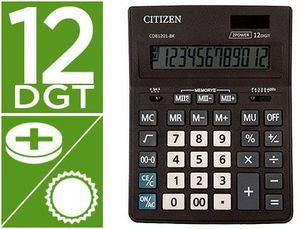 CALCULADORA CITIZEN SOBREMESA BUSINESS LINE ECO EFICIENTE SOLAR Y PILAS 12 DIGITOS 200X157X35 MM