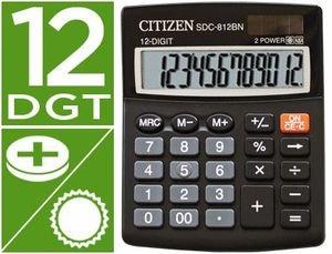 CALCULADORA CITIZEN SOBREMESA SDC-812 BN ECO EFICIENTE SOLAR Y A PILAS 12 DIGITOS 124 X 102 X 25 MM