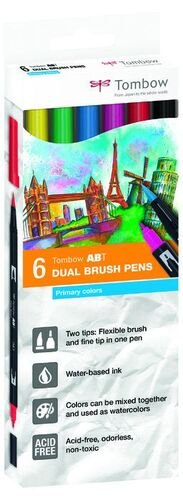 DUAL BRUSH ROTULADOR PINCEL TOMBOW ESTUCHE 6 COLORES PRIMARIOS
