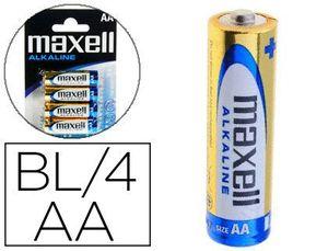 PILA MAXELL ALCALINA 1.5 V TIPO AA LR06 BLISTER DE 4 UNIDADES