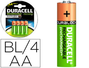 PILAS RECARGABLES DURACELL HR06 AA BLISTER 4 UD