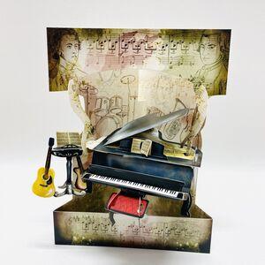 POSTAL SWING 3D PIANO Y MUSICA
