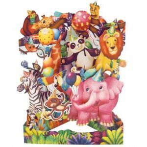 POSTAL SWING 3D FIESTA ANIMALES