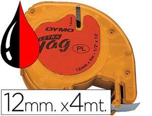 CINTA DYMO LETRATAG PLASTICO 12MM NG/RO 91203