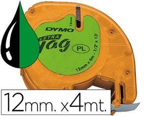 CINTA DYMO LETRATAG PLASTICO 12MM NG/VD 91203