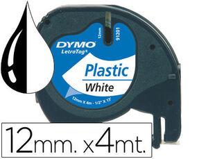 CINTA DYMO PLASTICO LETRATAG 12MMX4M NEGRO/BLANCO 91201