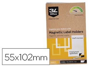PORTAETIQUETAS MAGNETICO 3L 55X102 MM PACK DE 3 UNIDADES