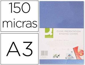 TAPA DE ENCUADERNACION Q-CONNECT PVC DIN A3 INCOLORA 150 MC CAJA DE 100 UNIDADES