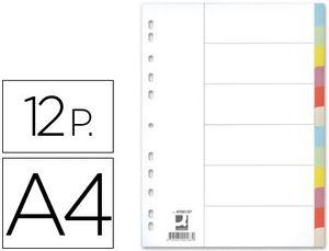 JUEGO 12 SEPARADORES Q-CONNECT CARTULINA A4