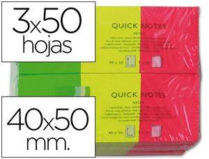 PACK 3 BLOCK NOTAS ADHESIVAS Q-CONNECT 40X50 NEON