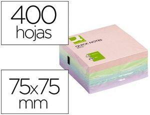 BLOC DE NOTAS ADHESIVAS QUITA Y PON Q-CONNECT 75X75 MM PASTEL CON 400 HOJAS