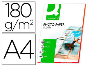 PAPEL Q-CONNECT FOTO GLOSSY DIN A4 ALTA CALIDAD DIGITAL PHOTO -PARA INK-JET BOLSA DE 50 HOJAS DE 180 GR