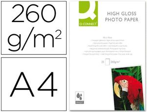 PAPEL Q-CONNECT FOTO GLOSSY DIN A4 ALTA CALIDAD DIGITAL PHOTO -PARA INK-JET BOLSA DE 50 HOJAS DE 260