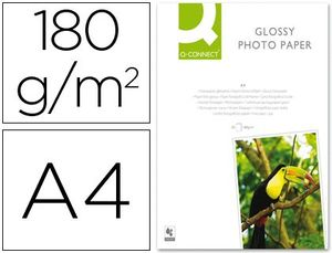 PAPEL Q-CONNECT FOTO GLOSSY DIN A4 ALTA CALIDAD DIGITAL PHOTO -PARA INK-JET BOLSA DE 50 HOJAS DE 180