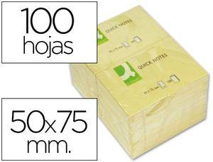 BLOC NOTAS ADHESIVAS Q-CONNECT 50X75 MM 100 HJ