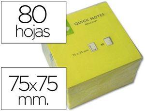 BLOC NOTAS ADHESIVAS Q-CONNECT 75X75 MM AMARILLO NEON 80 HOJAS