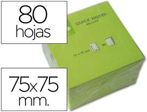 BLOC NOTAS ADHESIVAS 76X76 MM VERDE NEON 80 HOJAS