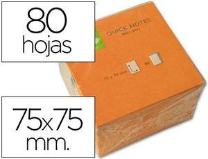 BLOC NOTAS ADHESIVAS Q-CONNECT 76X76 MM NARANJA NEON 80 HJ