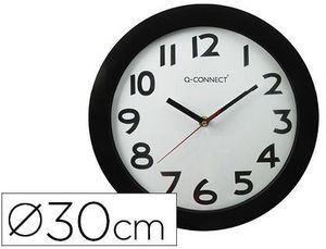RELOJ PARED 30 CM Q-CONNECT PP NEGRO