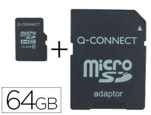 MEMORIA SD MICRO Q-CONNECT FLASH 64 GB CLASE 10 CON ADAPTADOR
