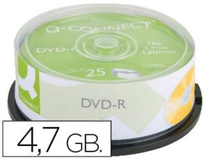 DVD-R Q-CONNECT CON SUPERFICIE 100% IMPRIMIBLE PARA INKJET CAPACIDAD 4,7GB DURACION 120MIVELOCIDAD 1