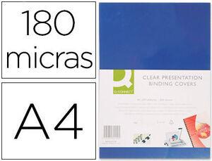 TAPA DE ENCUADERNACION Q-CONNECT PVC DIN A4 OPACA AZUL 180 MICRAS CAJA DE 100 UNIDADES