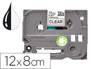 CINTA Q-CONNECT TZE-131 TRANSPARENTE-NEGRO 12MM LONGITUD 8 MT