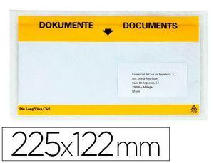 SOBRE PORTADOCUMENTOS 225X122 MM TRANSP PAQUETE 100 UD