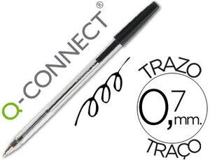 BOLIGRAFO TRANSPARENTE Q-CONNECT NEGRO MEDIO