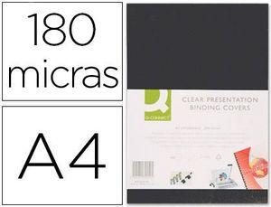 TAPA ENCUADERNAR Q-CONNECT PVC 180 MC A4 NEGRA CAJA 100 UD