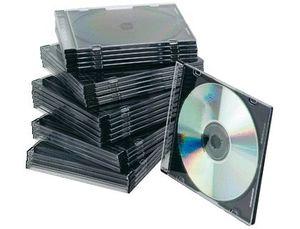 CAJA CD Q-CONNECT SLIM INTERIOR NEGRO PACK 25 UD