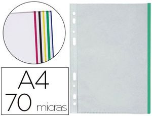 FUNDA MULTIT. A4 70 MC CRISTAL BORDE COLORES SURTIDOS BOLSA 25 UD