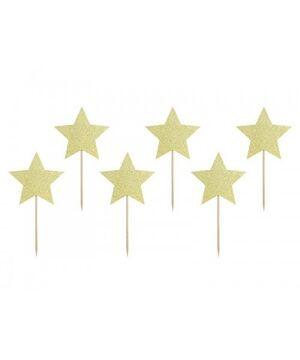 TOPPERS PARA TARTA STARS ORO 11,5 CM  6 UDS