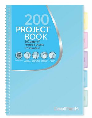 CUADERNO ESPIRAL 5X5 A5 COOLPACK PROYECT BOOK AZUL