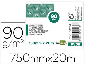 PAPEL DIBUJO LIDERPAPEL 750MMX20M 90G/M2 VEGETAL ROLLO