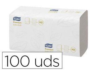 TOALLA SECAMANOS TORK XPRESS EXTRASUAVE ENGARZADA 2 CAPAS 34X21,2 CM PAQUETE DE 100 UNIDADES