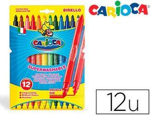 ROTULADOR CARIOCA BIRELLO BIPUNTA CAJA 12 COLORES