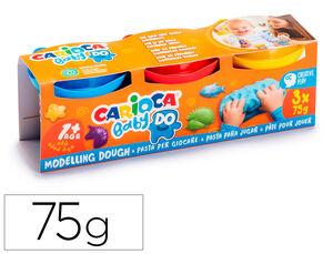 PASTA DE MODELAR CARIOCA BABY DOUGH BOTE 75 G SET DE 3 COLORES SURTIDOS