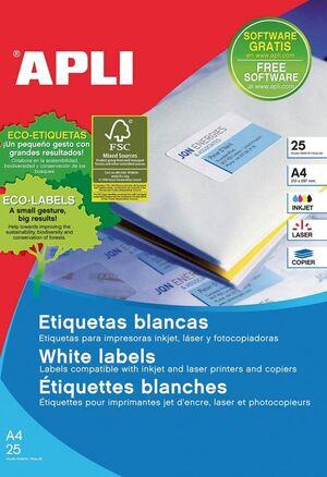 ETIQUETAS A4 I/L/C BLANCAS 105X37 25 HJ