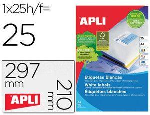 ETIQUETAS A4 I/L/C BLANCAS 210X297 25 HJ