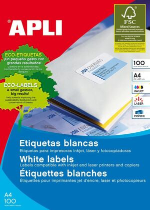ETIQUETAS A4 I/L/C BLANCAS 52,5X29,7 100 HJ