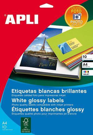 BLISTER APLI 10 HOJAS ETIQUETAS INK GLOSSY 199,6X289,1 CM