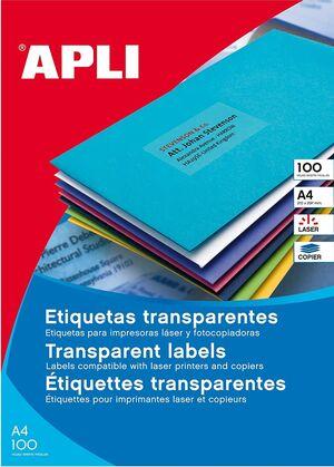 ETIQUETAS POLIESTER TRANSLUCIDAS MATE 99,1X38,1 BLISTER 20 UD