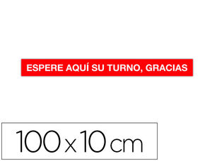 CINTA DE SEÑALIZACION ADHESIVA APLI ESPERE SU TURNO 100 X 10 CM