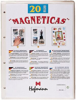 HOJA ALBUM FOTOS MAGNETICA BLANCA BOLSA 20 UD