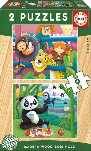 PUZZLE ANIMALES ZOO MADERA 2X9 PZ