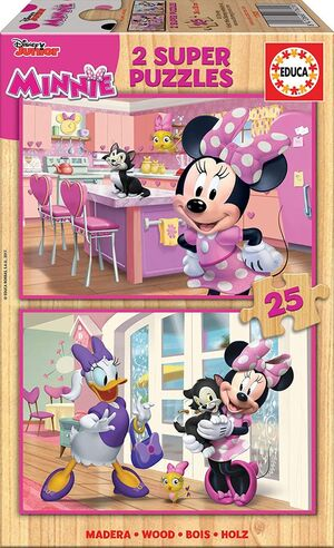 PUZZLE MINNIE Y THE HAPPY HELPERS DISNEY MADERA 2X25 PZ.